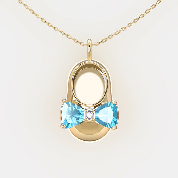 14K Yellow Gold Diamond and Blue Topaz Baby Shoe Pendant