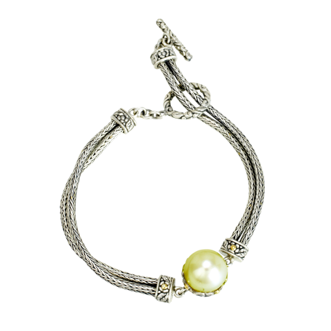 Yellow Pearl Sterling Silver Bracelet with 18K Gold Accents