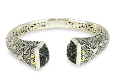 Carved Black Onyx Sterling Silver Hinged Bangle with 18K Gold Accents