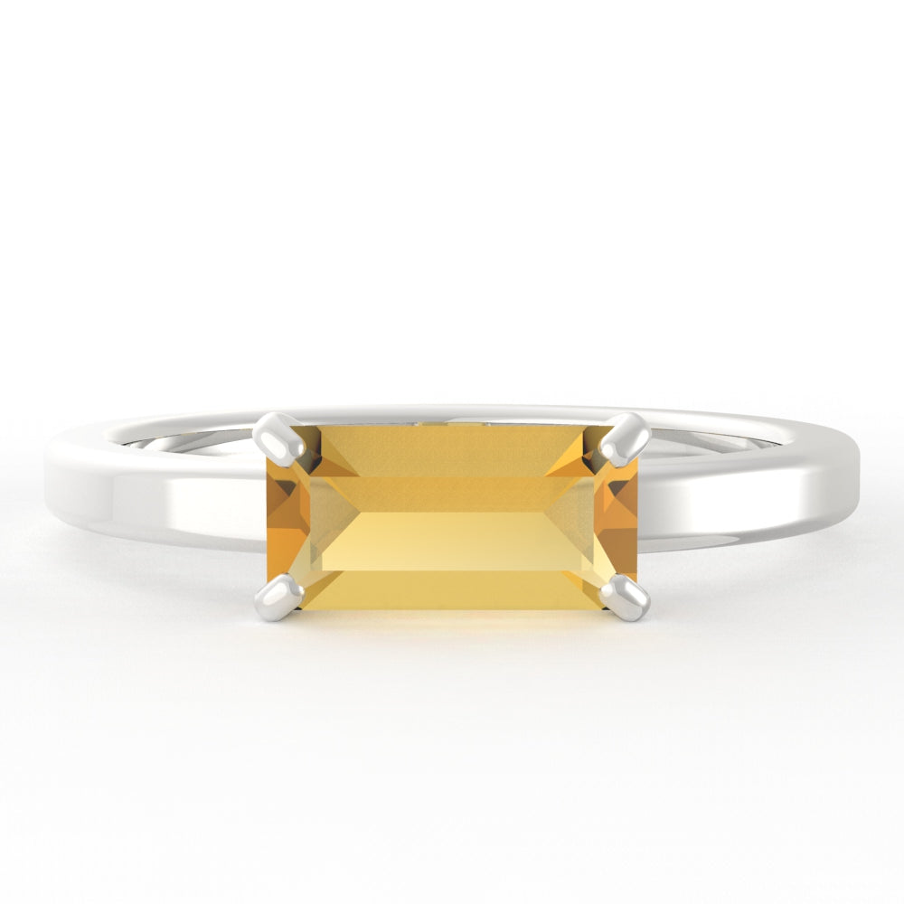Citrine Baguette 14K White Gold Ring