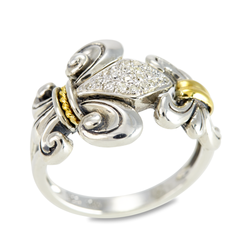 Diamond Fleur De Lis Sterling Silver Ring with 18K Gold Accents