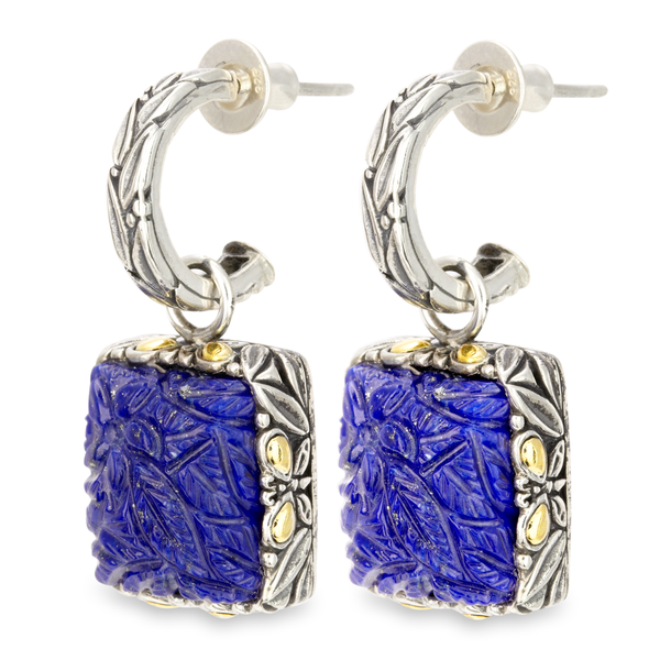 "Carved Blue Lapis Earrings Set in Sterling Silver & 18K Gold Accents ""Gwen"""