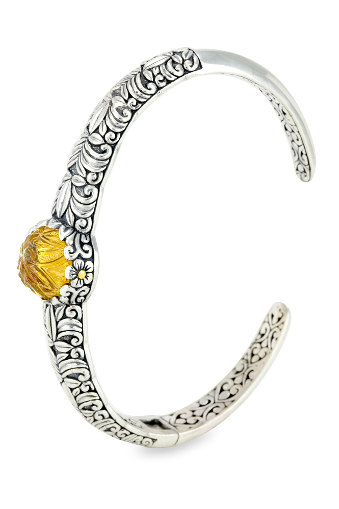 Carved Cognac Quartz Sterling Silver Bangle with 18K Gold Accents