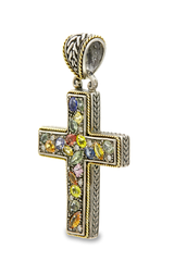 Multi Gemstone Sterling Silver Cross Pendant with 18K Gold Accents
