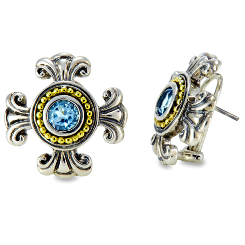 Blue Topaz Sterling Silver Earrings with 18K Gold Accents