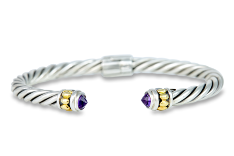 Sterling Silver Amethyst Twisted Cable Bangle with 18K Gold Accents