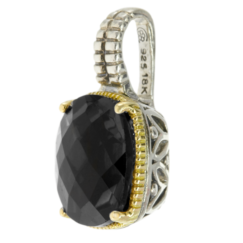 Black Onyx Sterling Silver Pendant with 18K Gold Accents