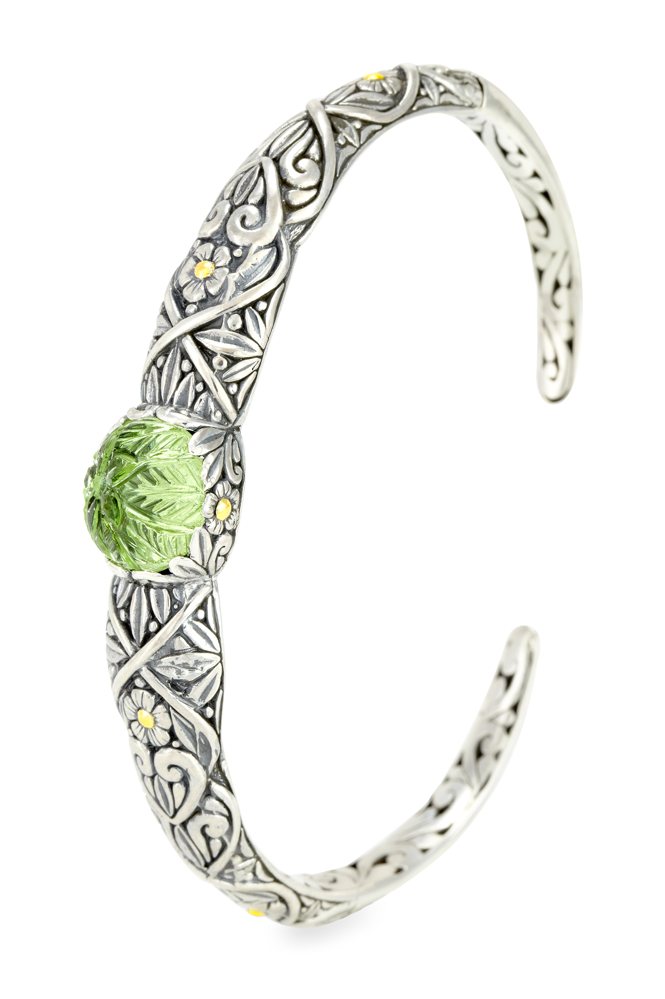 "Carved Mint Green Hydro Quartz Bangle Sterling Silver & 18K Gold Accents ""Brooke"""