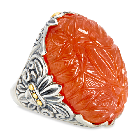 Carved Carnelian Sterling Silver Ring with 18K Gold Accents