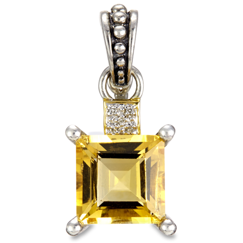 Citrine and Diamond Sterling Silver Pendant with 18K Gold Accents
