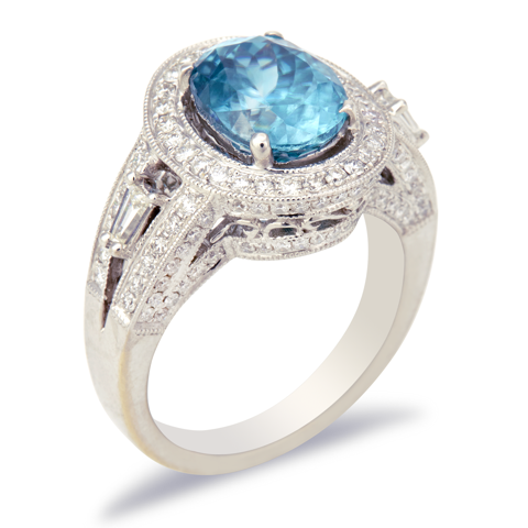 14K White Gold Diamond and Blue Zircon Ring