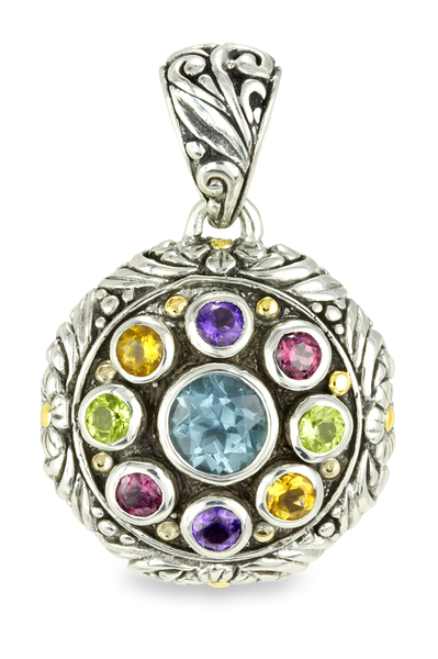 Blue Topaz & Multi Gemstone Pendant Set in Sterling Silver & 18K Gold Accents
