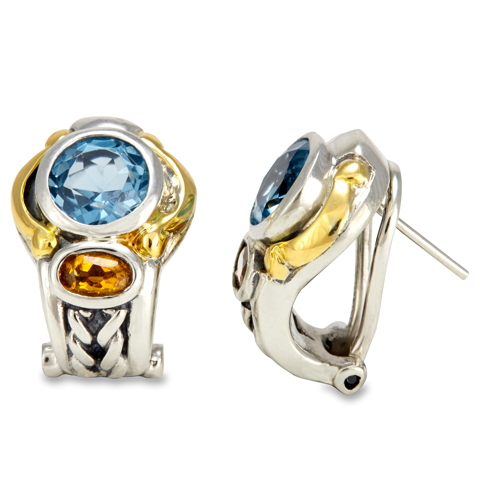Blue Topaz and Citrine Sterling Silver Earrings with 18K Gold Accents