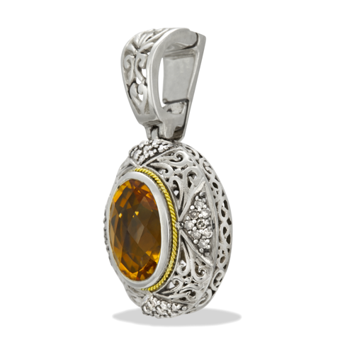 Brown Diamond and Citrine Sterling Silver Pendant with 18K Gold Accents