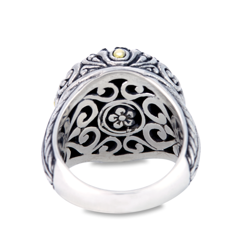 "Carved Black Onyx Ring Set in Sterling Silver & 18K Gold Accents ""Elizabeth"""
