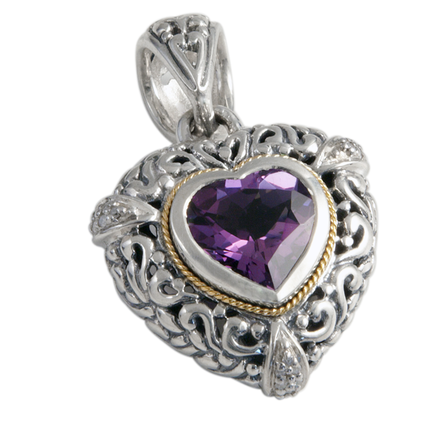 Amethyst Pendant Set in Silver and Yellow Gold Accents