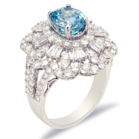 18K White Gold Diamond and Blue Zircon Ring