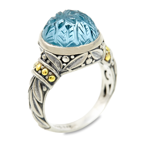"Carved Blue Topz Ring Set in Sterling Silver & 18K Gold Accents ""Christina"""