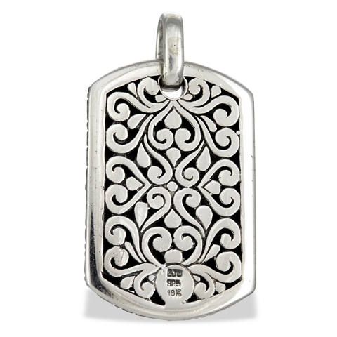 Diamond Heart Sterling Silver Dog Tag Pendant with 18K Gold Accents