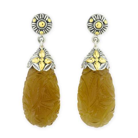 Carved Cognac Quartz Sterling Silver Earrings with 18K Gold Accents