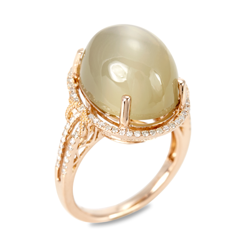 14K Rose Gold Diamond and Moonstone Ring