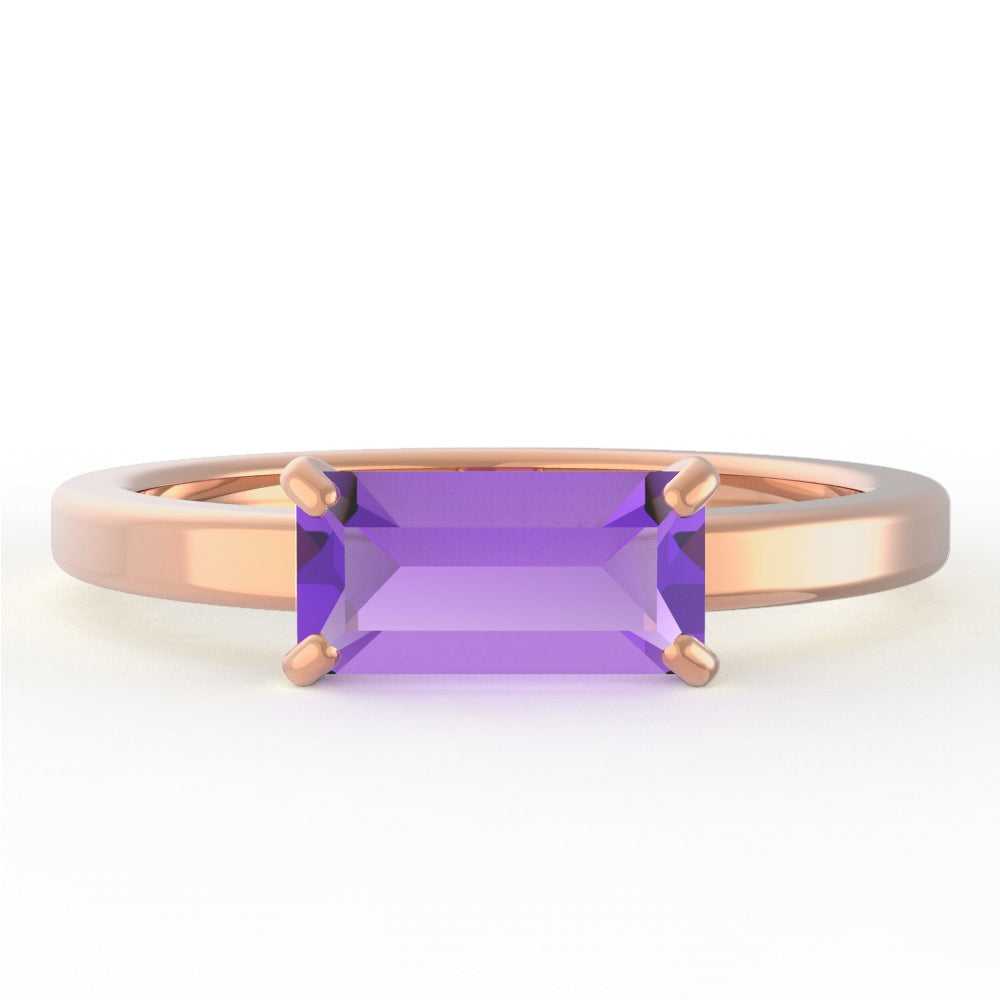 Amethyst Baguette 14K Rose Gold Ring