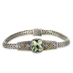 Green Amethyst Sterling Silver Woven Bracelet with 18K Gold Accents