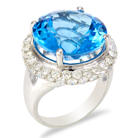 "14K White Gold Diamond and Blue Topaz Ring ""Sheri"""