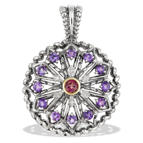 Diamond, Garnet and Amethyst Sterling Silver Pendant with 18K Gold Accents