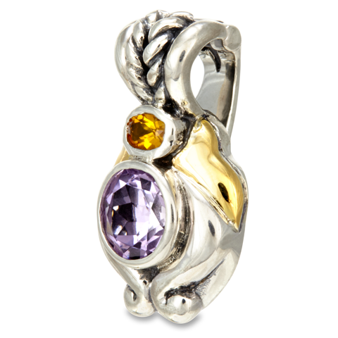 Amethyst and Citrine Sterling Silver Pendant with 18K Gold Accents