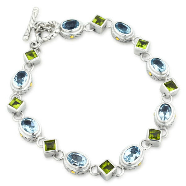 Blue Topaz and Peridot Sterling Silver Bracelet with 18K Gold Accents