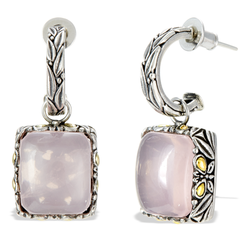 Rose Quartz Sterling Silver Earrings with 18K Gold Accents