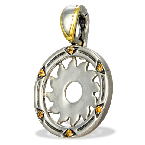 Orange Sapphire Sterling Silver Pendant with 14K Gold Accents