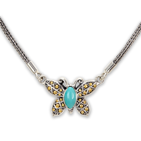 Turquoise Sterling Silver Butterfly Necklace with 18K Gold Accents