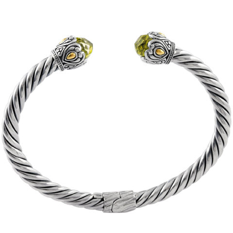 Lemon Quartz Sterling Silver Twisted Cable Bangle with 18K Gold Accents