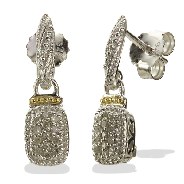 Diamond Sterling Silver Earrings with 18K Gold Accents