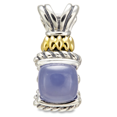 Chalcedony Sterling Silver Pendant with 18K Gold Accents