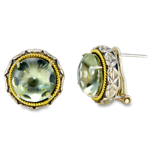Green Amethyst Sterling Silver Earrings with 18K Gold Accents
