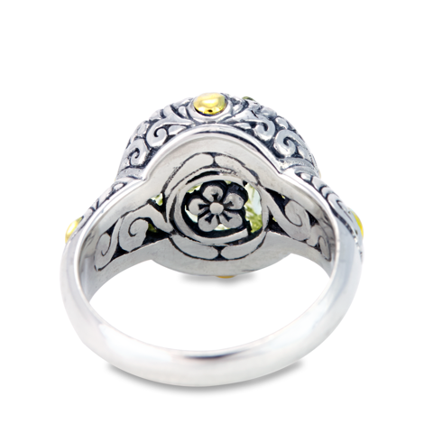 "Carved Lemon Quartz Sterling Silver Ring with 18K Gold Accents ""Darlene"""