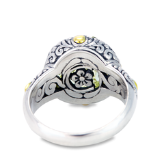 Carved Lemon Quartz Sterling Silver Ring with 18K Gold Accents