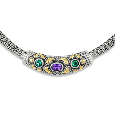 Amethyst and Green Quartz Sterling Silver Woven Necklace with 18K Gold Accents