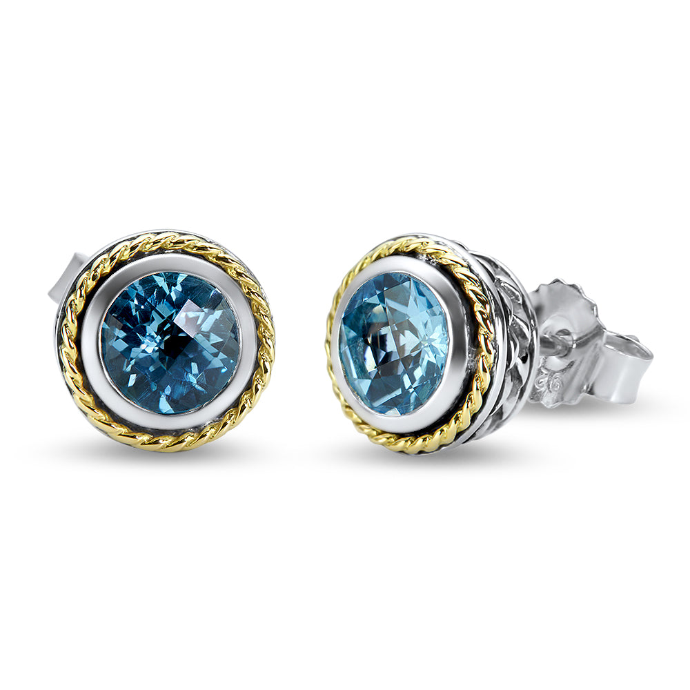 Bleu Topaz Sterling Silver Earrings with 18K Gold Accents