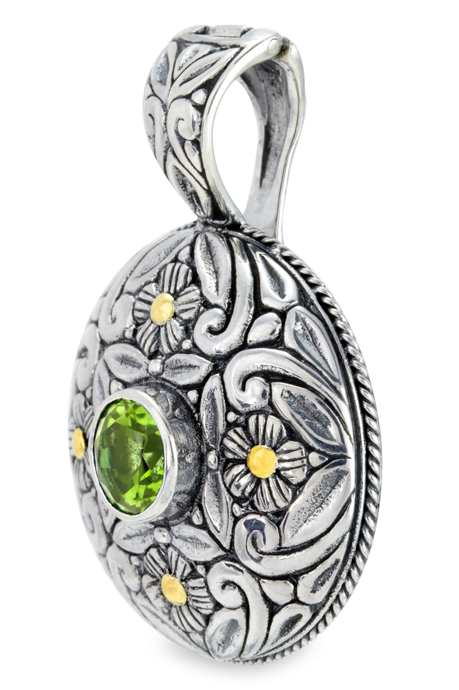 Peridot Sterling Silver Pendant with 18K Gold Accents