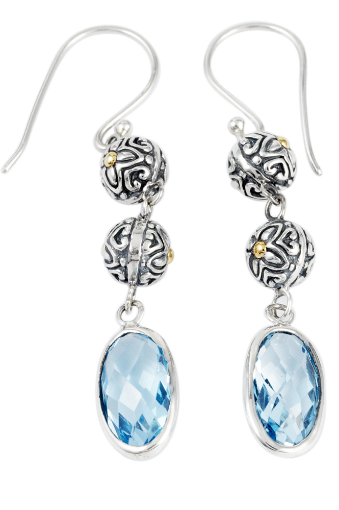 Blue Topaz Sterling Silver Drop Earrings with 18K Gold Accents