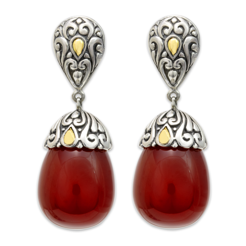 Carnelian Sterling Silver Drop Earrings with 18K Gold Accents