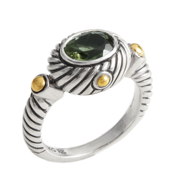 Green Quartz Sterling Silver Ring with 18K Gold Accents