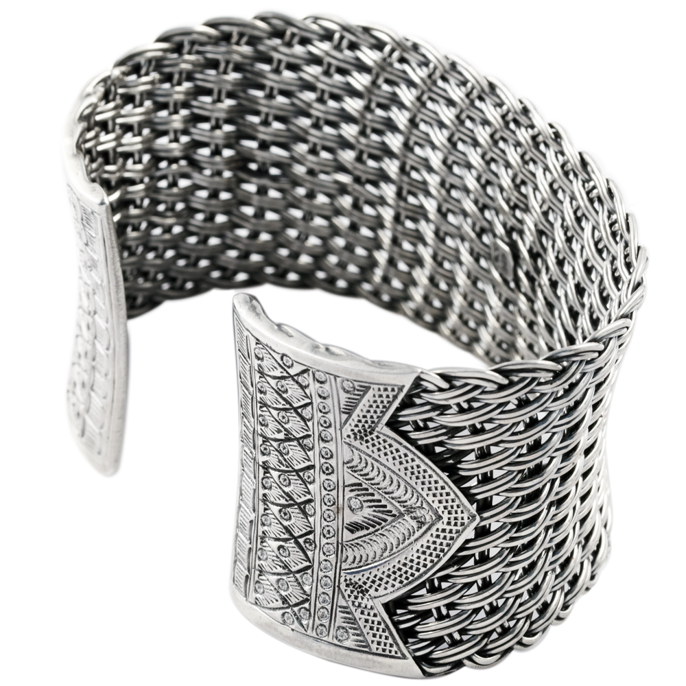 Sterling Silver Woven Cuff Bangle