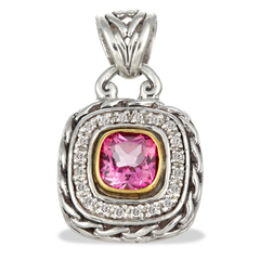 Diamond and Pink Topaz Sterling Silver Pendant with 18K Gold Accents