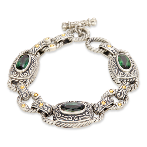 Green Quartz and Sterling Silver Bracelet with 18K Gold Accents