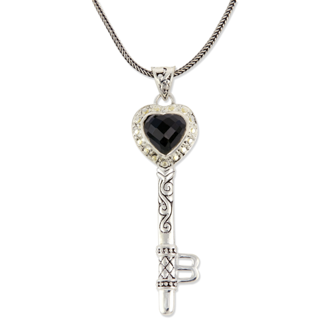 Black Onyx Sterling Silver Heart Key Pendant with 18K Gold Accents